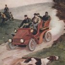 Vintage Antique Postcard Unposted A JOLLY RACE With Car, Horse, Dog