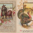 Vintage Antique Lot of Two Thanksgiving Holiday Postcards