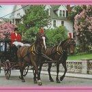 Carriage and Lilacs Postcard Horses Mackinac Island