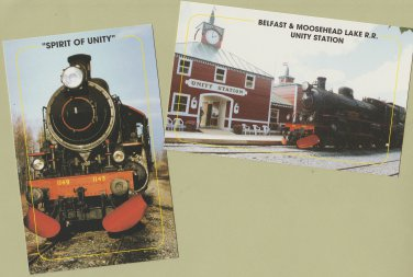 "Railroad Train Postcards ""Spirit of Unity"" Moosehead Maine Steam Locomotive"