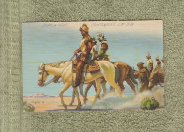 Postcard Antique CONQUiSTADORS HORSES Coronado Postally Used