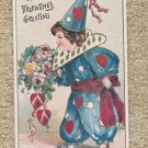 A Valentine's Holiday Greeting Post Card Reproduction Jester Clown