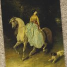 AMAZONE ON ARABIAN HORSE WITH SPANIEL Post Card Equestrienne