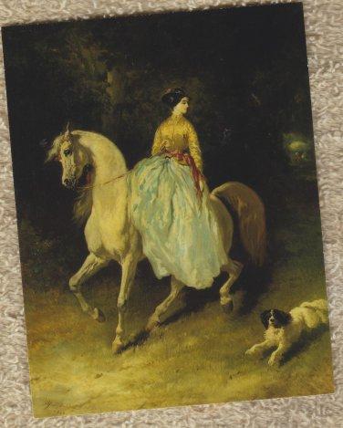 AMAZONE ON ARABIAN HORSE WITH SPANIEL Post Card Equestrienne