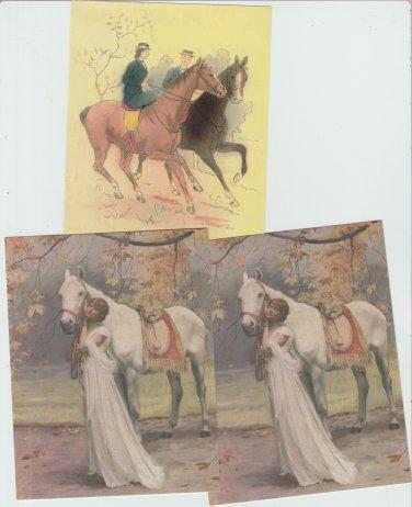 Lot of 3 Postcards HORSES LADIES SIDESADDLE  Chrome Unused Art