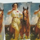 COCA COLA GIRL AND HORSE POSTCARD Lot of 3