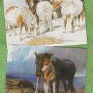 SNOW PONIES ART POST CARDS HORSES SHETLAND PONY