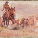 The Helping Hand Post Card Horse Cattle Art Western Cowgirl