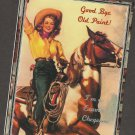 Woman On Paint Pinto Horse Postcard Cowgirl Unused