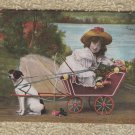 DOG CART POSTCARD WITH CHILD VINTAGE GD CARTE POSTALE