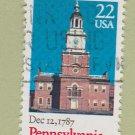 U.S. Bicentenary Stamp 22c Pennsylvania Scott #2337 1988 Used
