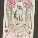 With Kindest Wishes Cat Feline Antique Post Card Emossed