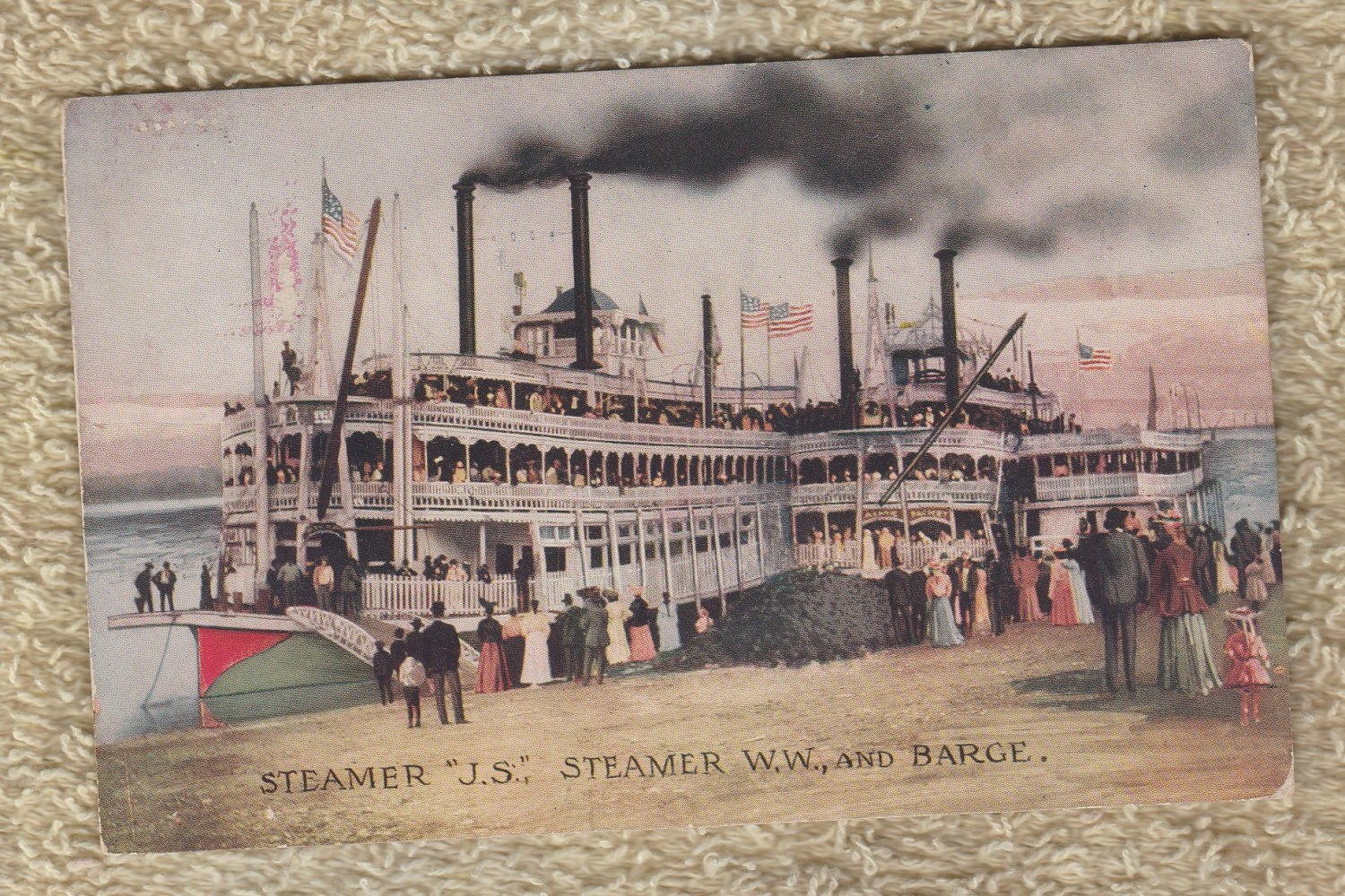 "Steamer ""J.S."" Steamer W. W. And Barge Post Card"
