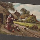 Postcard Country Scene With Farm and Chickens Antique Scenic