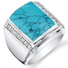 Mens Simulated Turquoise 925 Sterling Silver CZ Ring