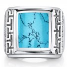 Mens Greek Key Simulated Turquoise Chunky Ring Sterling Silver