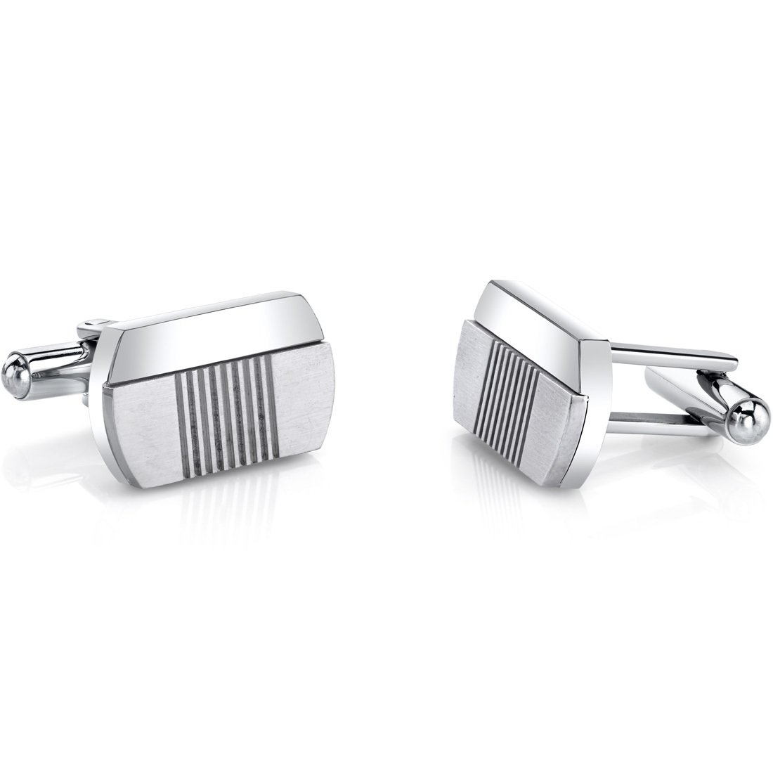 Abstract Modern Layered Stainless Steel Cufflinks