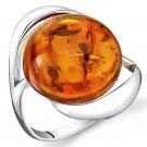 Sterling Silver Round Amber Swirl Ring