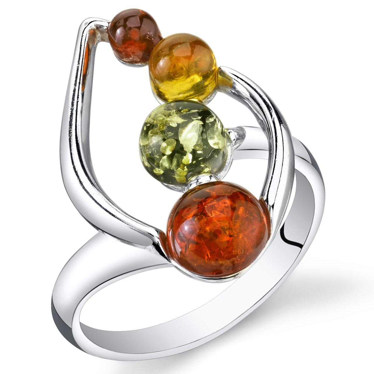 Sterling Silver Amber Leaf Ring