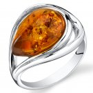 Sterling Silver Baltic Amber Tear Drop Ring