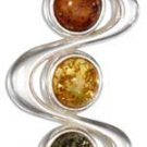 Sterling Silver Multi-Color Amber Squiggles Pendant