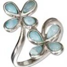 Sterling Silver Double Larimar Flower Ring