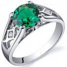 Sterling Silver Cathedral Design Emerald Solitaire Ring