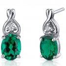 Sterling Silver 2.00 Carat Oval Cut Emerald Earrings