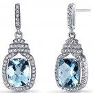 Sterling Silver Swiss Blue Topaz Halo Crown Dangle Earrings