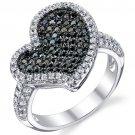 Sterling Silver Black & White CZ Heart Ring