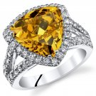 Sterling Silver 6.00 Carats Yellow CZ Ring