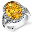 Sterling Silver 8.25 Carat Yellow CZ Ring