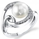 Sterling Silver 8.5mm Freshwater White Pearl Ring