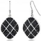 Sterling Silver & Black Checkerboard Swarovski Dangle Earrings