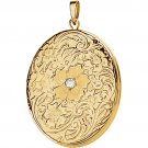 14K Yellow Gold Oval Floral Diamond Locket