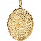 14K Yellow Gold Oval Floral Diamond Locket