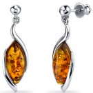 Sterling Silver Marquise Shape Amber Earrings