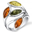 Sterling Silver Marquise Shaped Amber Ring