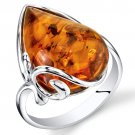 Sterling Silver Large Tear Drop Amber Ring