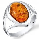 Sterling Silver Oval Baltic Amber Ring