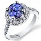 14K White Gold Round Shape Tanzanite Ring