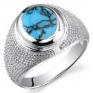 Men's Studded Sterling Silver Turquoise Ring