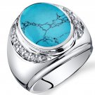 Men's Oval Cut Simulated Turquoise Godfather Ring
