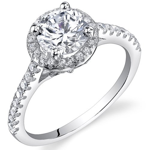 Sterling Silver Round Shape CZ Ring - 1.52 Carats