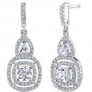 Sterling Silver Cushion Cut 0.5 Carats CZ Earrings