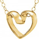 "14K Yellow Gold Ribbon Heart 15"" Youth Necklace"