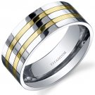 Mens Titanium Traditional 8mm Two Tone Band