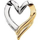 14K Two-Tone Gold Heart Slide