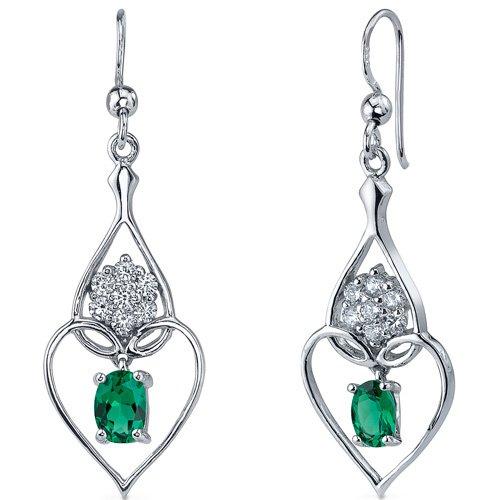 Sterling Silver 1.5 Carats Emerald Heart Earrings