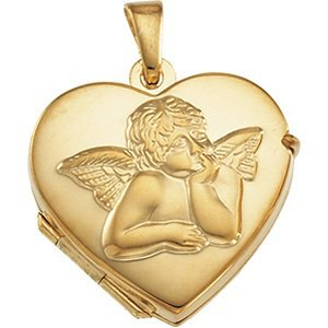 14K Yellow Gold Cherub/Angel Heart Locket